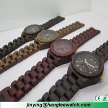 Relógio de madeira multifuncional da tabela de madeira natural pura do relógio do Sandalwood do OEM