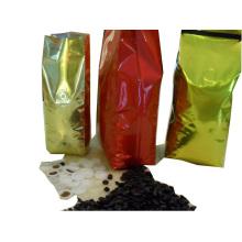 Bolsa de café: Bolsa de café de gasa lateral con válvula de gas y lazo de estaño