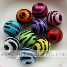 Manufacturer of for Round Plastic Beads Wholesale Fashion Colorful Jewelry Acrylic Black Stripe Beads export to Heard and Mc Donald Islands Factories