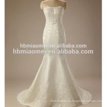 Off-hombro de color blanco de encaje Una línea de mano beabed sexy vestido de novia indio al por mayor
