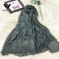 2016 New Design Leaf Branch Embroidered 100%Silk Crinkle Scarf