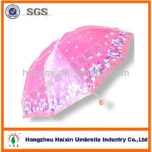 Diversos diseños de impresión Portable Sun Umbrella 3 plegable paraguas de satén