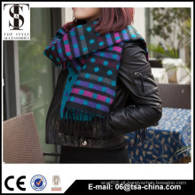 Clássico inverno design acrílico personalizado jacquard lenço