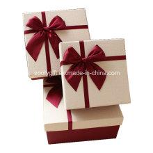 Caja de regalo de papel texturizado de calidad con arco de cinta / pop up Caja de regalo de papel cuadrado hecho a mano para el día de San Valentín
