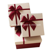 Quality Textured Art Paper Gift Box with Ribbon Bow / Pop up Handmade Square Paper Gift Packing Box for Valentine′s Day