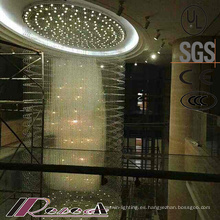 Clásica estilo especial Hotel decorativo grande espiral cristal K9 araña