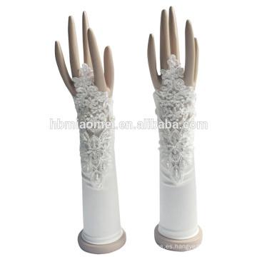 Guantes nupciales sin dedos de las ventas directas de la fábrica del guante 2017 con la decoración de las flores