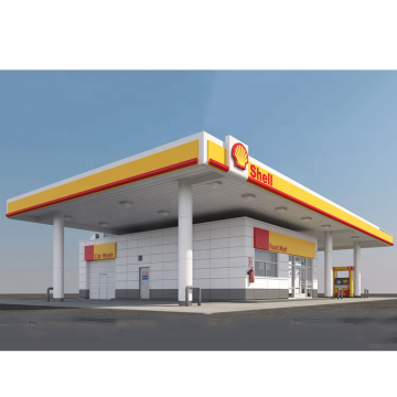 Prefab Space Frame Construction Cost Steel Gas Station Roof Canopy