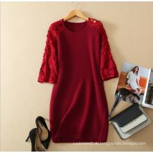 Damen Cashmere-Pullover Kleid reines Kaschmir elegantes Kleid mit aushöhlen 3 Viertel Ärmel