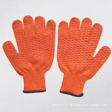 Luva tricotada revestida PVC do projeto de Criss-Cross