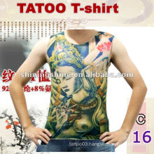2016 hot sale sleeveless thin tattoo t-shirt, tattoo clothing