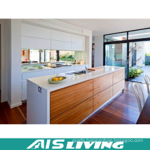 Natural Wood Grain Laminate Modular Kitchen Cabinets Furniture (AIS-K055)
