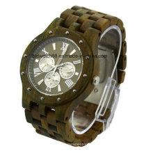 Reloj unisex del cronógrafo hecho a mano del grano de madera de alta calidad de madera