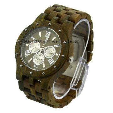 Hochwertige handgefertigte Holzmaserung Chronograph Unisex Uhr aus Holz
