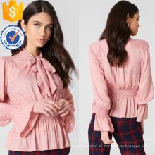 Plisado rosa manga larga cuello corbata blusa de verano fabricación al por mayor de moda mujeres ropa (TA0043B)