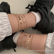 European and American Retro Temperament Tassel Copper Sheet Iron Bead Chain Star Moon Pendant Chain Set Fashion Jewellery Anklet for Women