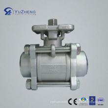 Válvula de bola del acero inoxidable BW 3PC con el cojín ISO5211