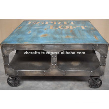 Industrial cast iron wheel vintage finish coffee table