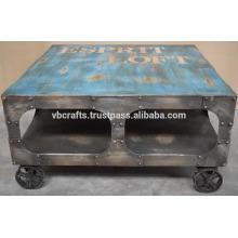Промышленных чугун колесо старинные отделка журнальный столик