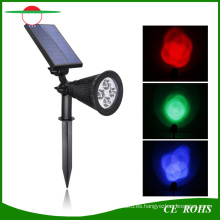 4 LED High Brigntess ajustable RGB Color que cambia el césped solar Jardín Lámpara de pared Spot Light Paisaje al aire libre Solar Spotlight
