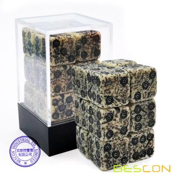 Bescon Antiguo Done Bone Dice D6 16mm 12pcs Conjunto, 16mm Six Sided Die (12) Bloque de dados de piedra