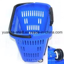 Convenient Store Supermarket Virgin Plastic Shopping Rolling Basket