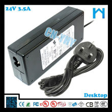 Adaptateur cc de sortie unique 84w 24v 3.5a LED CCTV et périphériques de bureau avec CE FCC GS C-tick, UL / CUL