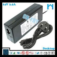 Одножильный адаптер переменного тока постоянного тока 84w 24v 3.5a LED LCD CCTV и настольные устройства с CE FCC GS C-tick, UL / CUL