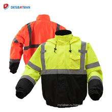 Высокая видимость Водонепроницаемый теплый контраст дорожной безопасности куртки с 3M светоотражающие ленты и инструмент карманы зима 3 класс