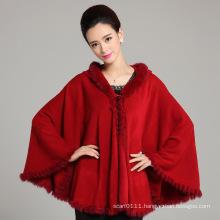 Lady Fashion Acrylic Knitted Rabbit Fur Winter Shawl (YKY4470)