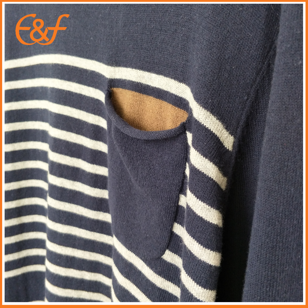 Men stripe sweater with pocket