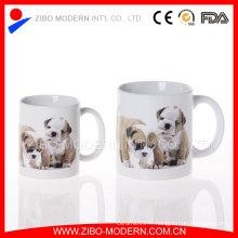 Tasse en céramique rectangulaire en grès blanc 20oz avec design de décalage animal