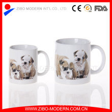 20oz White Stoneware Straight Ceramic Mug with Animal Decal Design