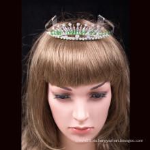 Tiaras de encargo de la corona corona redonda llena cristalina de la corona de la corona