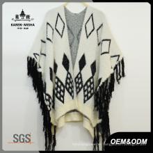 Women Loose Poncho Sweater with Fringe Hem