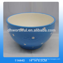 Cuenco de cerámica azul de moda, cuenco decorativo de cerámica con pintura de punto blanco