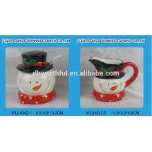 Keramik Schneemann Zucker und Sahne-Set mit Löffel für Weihnachten