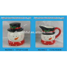 Ceramic snowman sugar and creamer set with spoon for christmas