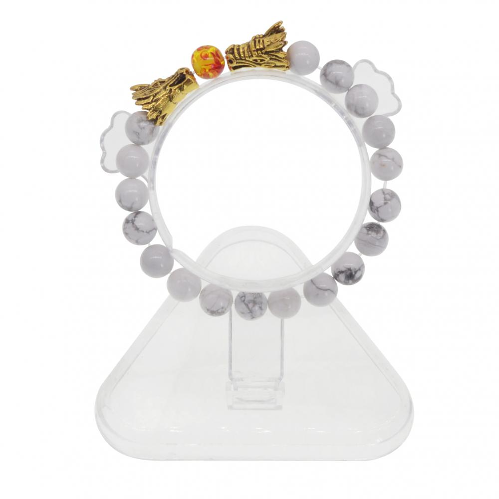 Pulsera Howlite de perlas Dragon Head 8MM mujeres