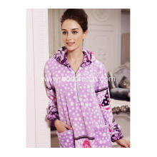 Soft Fleece Pajama Dress With Zipper And Hood