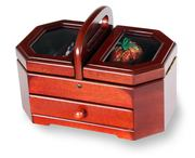 Wooden Box Basket with Sewing Kit Supplied
