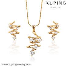 62716-Xuping imitação diamante conjunto de jóias banhado a ouro conjunto de jóias