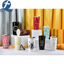 Fashion Custom Printed 3.5 Inch Stoneware Ceramic Double Coffee Cup Set with Plastic lid