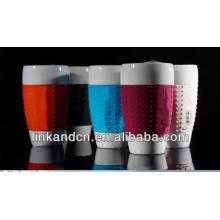 Haonai эко фарфоровая чашка с цветной кремниевой втулкой