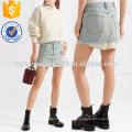 Poplin listrado em camadas e denim mini saia de fabricação por atacado de moda feminina vestuário (td3025s)