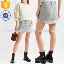 Popelina de rayas en capas y Denim Mini Falda Fabricación Ropa de mujer de moda al por mayor (TA3025S)