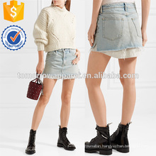 Layered Striped Poplin and Denim Mini Skirt Manufacture Wholesale Fashion Women Apparel (TA3025S)
