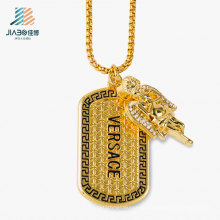 New Design Alloy Casting Jewelry Custom Gold Tag with Necklace