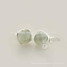Venda Por Atacado Best Quality Natural Gemstone Stud Earrings, 925 Sterling Silver Bezel Earrings Jewelry Supplier