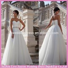 WD9069 novo famoso com ótimo preço sem trem organza A linha de sapatos strapless taiwan casamento fabricação